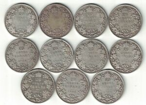 11-X-CANADA-TWENTY-FIVE-CENTS-QUARTERS-KING-GEORGE-V-800-SILVER-COINS-1921-1936