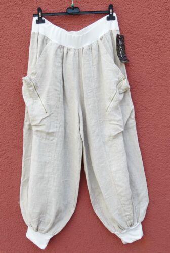Santos 50 lino di 48 di New Pantaloni Xl Lagenlook Pantaloni Sarah lino Pantalon UqUT5P1