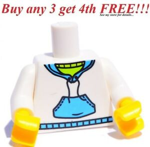 NEW Lego Girl Boy Minifig TORSO White w//Sweat-Shirt Pocket Hoodie Sweater Jacket