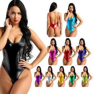 6e6fa00782 Image is loading Women-Leather-Sexy-Metallic-Lingerie -Sleeveless-Bodysuit-Catsuit-