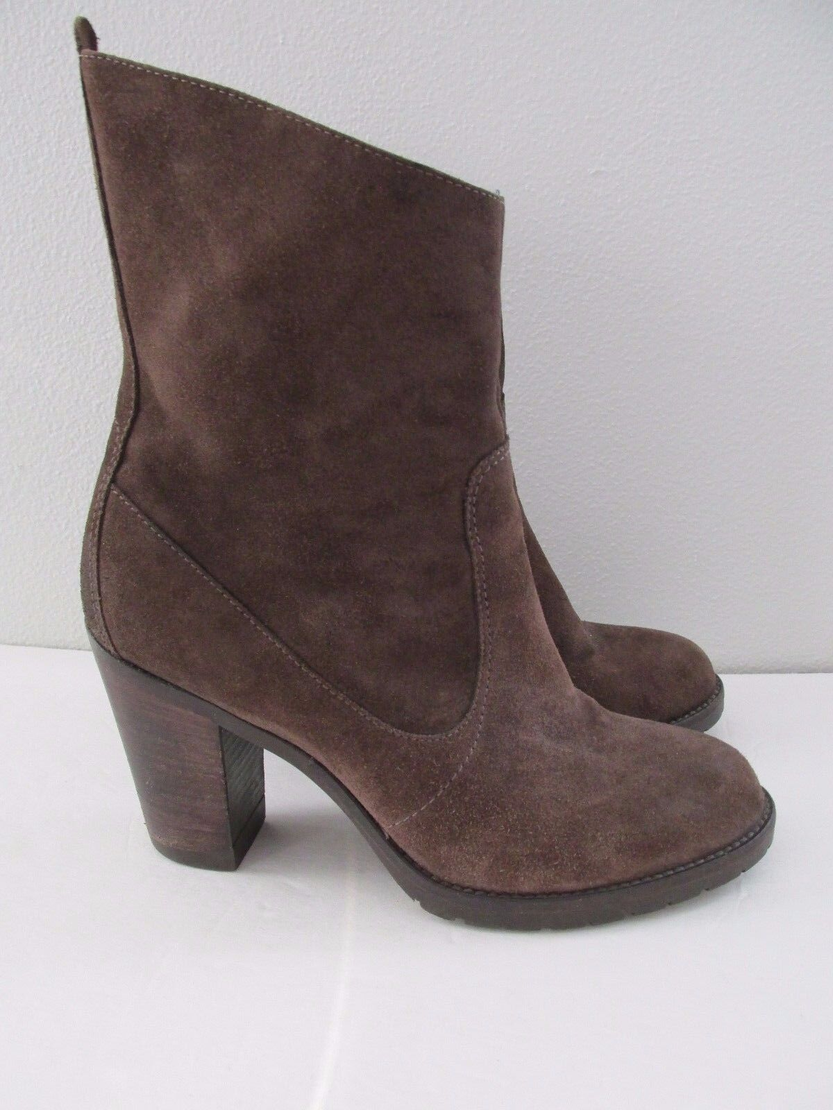 Tremp Made in  Größe 39 8.5 braun Suede Leather Ankle Chunky Heel Stiefel