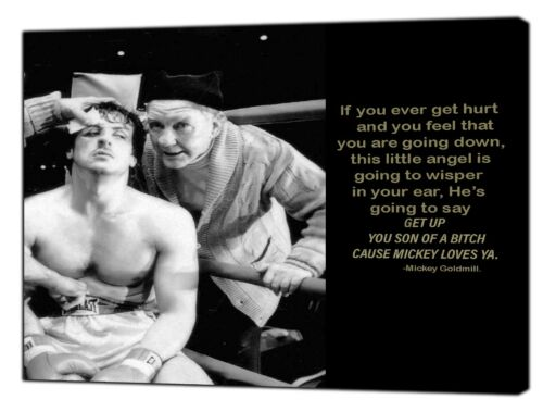 Mickey GoldMill Quote and Rocky Picture  Reprint Framed CANVAS Wall Art Decor