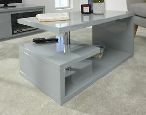 Details About Polar High Gloss Led Coffee Table Grey