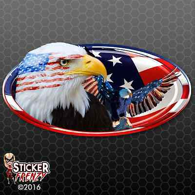 "US PATRIOTIC American Flag Eagle LARGE Camper RV sticker 14/"" Wide EASY-APPLY"