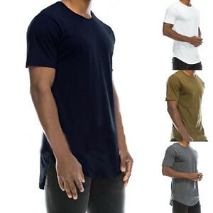Stilvoll-Longshirt-T-Shirt-Long-Herren-Langes-Kurzarm-Tee-Freizeitshirt-S-M-L-X