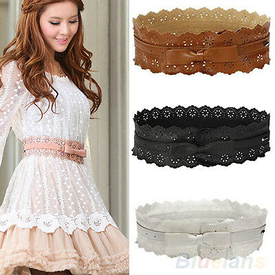 Women Lady Faux Leather Hollow Flower Bowknot Wide Waist Belt Waistband New