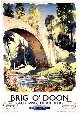 Vintage Railway Advertising  rail travel poster  A4 RE PRINT Brig O'Doon