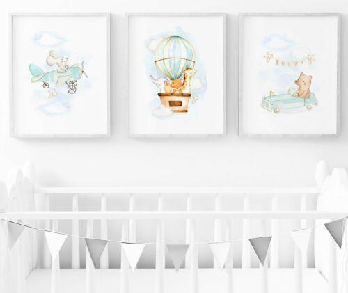 Boys Nursery Print Set Of 3 Car and Plane Baby Room Wall Art Nursery Vehicles