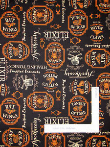 Halloween-Under-A-Spell-Apothecary-Black-Cotton-Fabric-Wilmington-By-The-Yard
