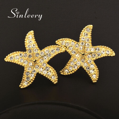 Fashion Cubic Zirconia Starfish Stud Earrings For Women Yellow White Gold Plated