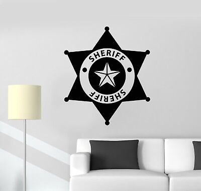 ig5108 Vinilo Pared Calcomanía Insignia de Sheriff Policía Niños Habitación Pegatinas Mural de Arte