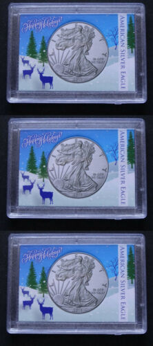 Details about  /3 American Silver Eagle Frosty Case Snaplock Coin Holder 2X3 Deer Happy Holidays