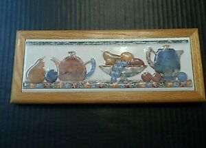 Ceramic-Tile-Wall-Art-Wood-Framed-Fruit-Bowl-Pears-Apples-Tea-Coffee-Pots-Decor