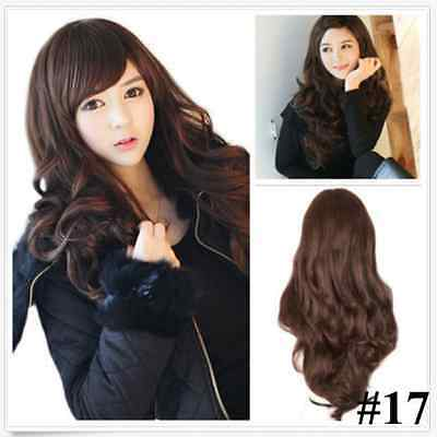 Womens Lady Fashion Cosplay Wig Curly Wavy Hair Full Wigs Costume Wigs+Free Cap