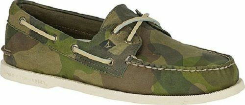 SPERRY Top-Sider STS15212 - Men's Boat shoes -Green Camo Print Leather -Size 7 M