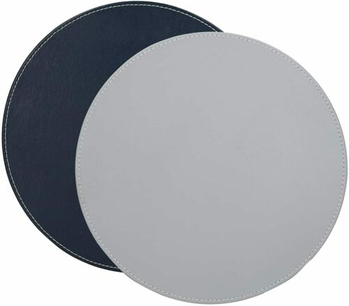 Set of 4 Creative Tops Round Placemats 29 cm Grey // Black Faux Leather