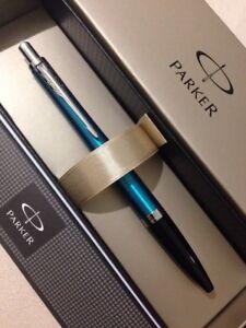 PARKER URBAN VIBRANT BLUE CHROME TRIM BALLPOINT PEN-FRANCE-GIFT BOX-NEW MODEL. XBYHN9n9-09091156-453080066