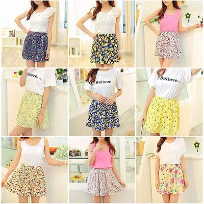 Women Flowers Floral Print Stretch Waist Pleated Short Mini Summer Skirt Chiffon