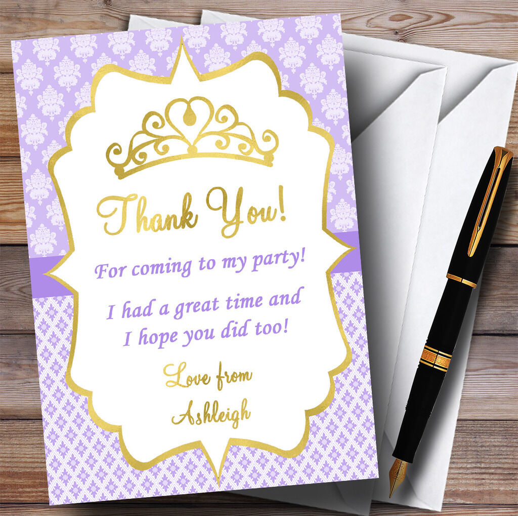 lila & Gold Crown Princess Party Thank You Cards