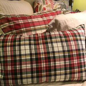 New Pottery Barn Denver Plaid Lumbar Pillow Cover16x26 Red