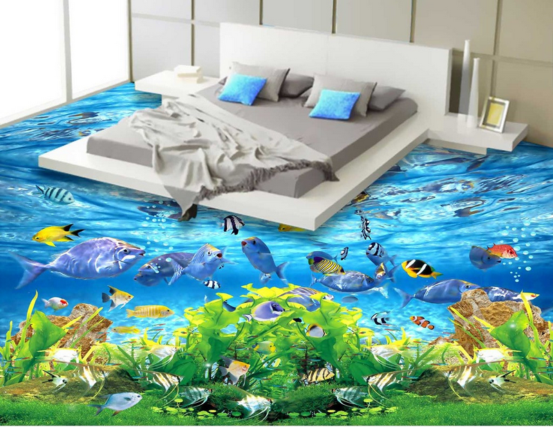 3D Grün Kelp Fishs 5 Floor WallPaper Murals Wall Print 5D AJ WALLPAPER UK Lemon