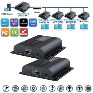 1 Sender+4 Receiver HDMI 1080P Extender IR LAN over RJ45 Cat5e//Cat6 Up to 120m,