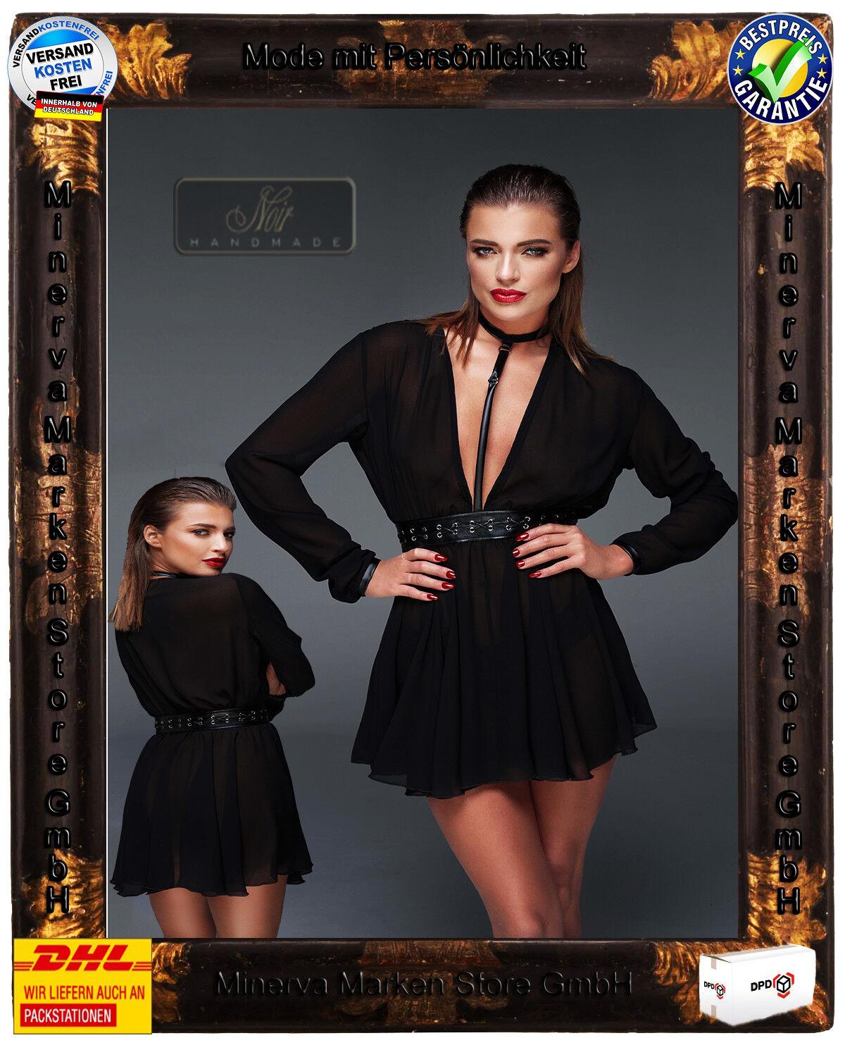 schwarz Handmade Chiffon Wetlook Minikleid  F150 F150 F150 Choker Clubwear Gothic Transparent 088127