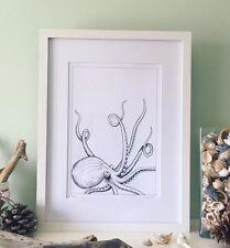 Monochrome Kraken Art Print, Signed Ltd Edition,octopus Unique Illustration.