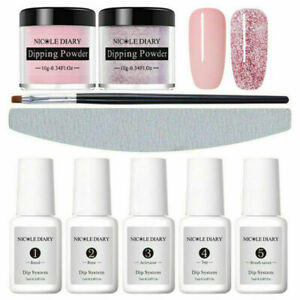 9Pcs-Set-NICOLE-DIARY-Glitter-Dipping-Powder-System-Dip-Liquid-Nail-Art-Kit-Tool