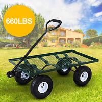 Heavy Duty Garden Utility Nursery Wagon Cart Wheelbarrow Steel Lawn Trailer Yard