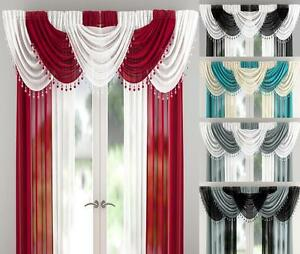 MILLIE-SHEER-VOILE-BEADED-9-PEICE-SWAG-SET-WITH-HEART-BEADS-Many-Colours