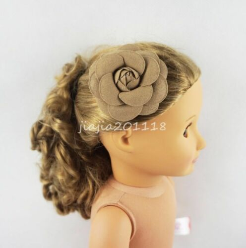 Fit For 18/'/' American Girl Brown Flower Hair Clips Headwear Doll Accessories New