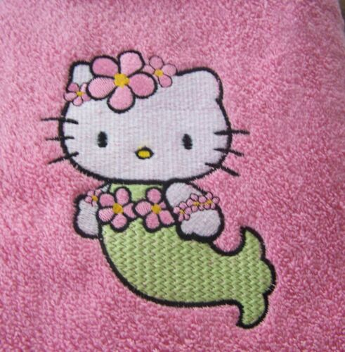 "/""PERSONALIZED EMBROIDERED HELLO KITTY SWIMMING//BATH TOWEL/""MERMAID"