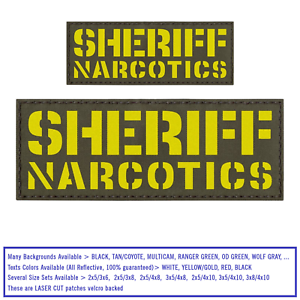 Bundle Set 2 Sheriff Narcotics Reflective Patches Plate Carrier Police SWAT #X