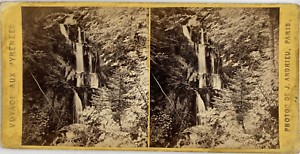 Andrieu, Stéréo, France, Luchon, cascade des Parisiens Vintage stereo card,  T