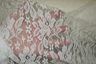 "Stretch Allover Lace Off White Floral Nylon Spandex 60"" Wide Fabric 1/2 Yard"