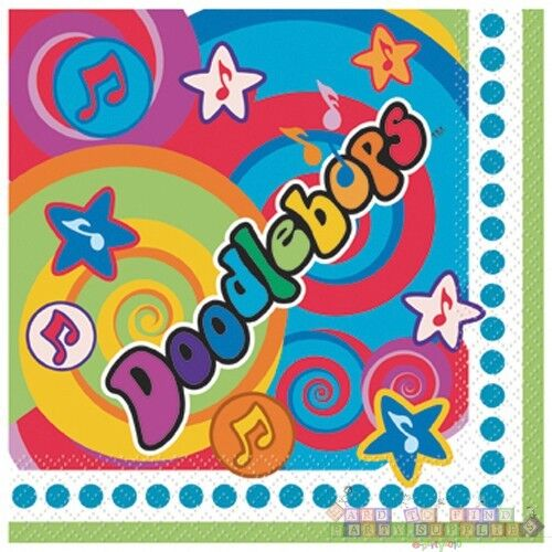 ~ Birthday Party Supplies Cake Dessert Rainbow DOODLEBOPS SMALL NAPKINS 16
