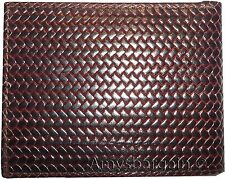 New Italian style Woven printed leather man's bi-fold wallet 9 Credit card+ID bn