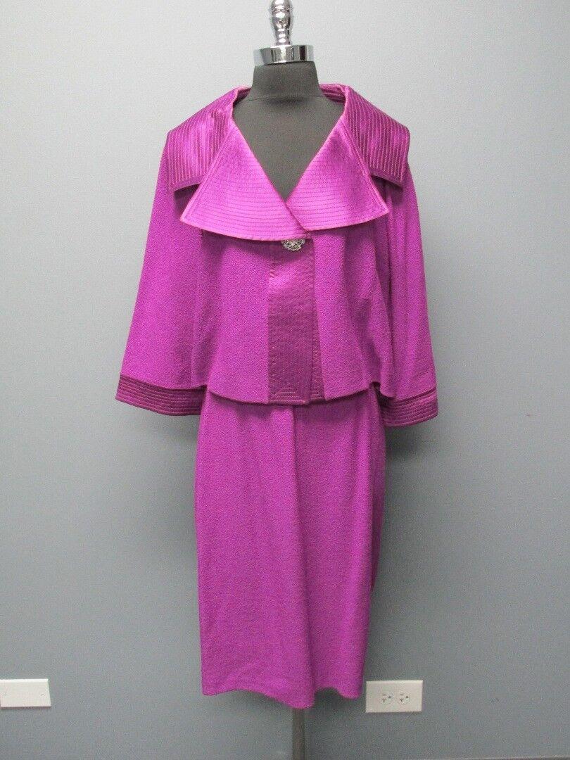 ST JOHN  púrpura 3 4 Mangas Un botón chaqueta talla 12 sólido falda SZ 8 Set FF7024  edición limitada