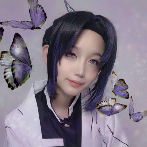 Demon Slayer Kimetsu no Yaiba Mushi Bashira Kochou Shinobu Cosplay Hair Wig LHZ