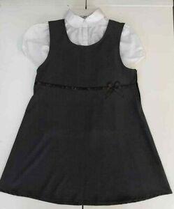 BHS-Girls-School-Pinafore-Dress-Blouse-Age-9-10-Grey-Generous-Fit-Plus-Size