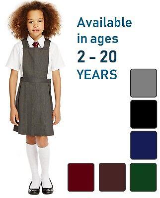 GIRLS PLEATED BIB PINAFORE AGES 2-18DRESS SCHOOL UNIFORM BLACK GREY NAVY