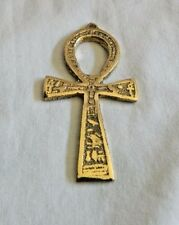"Egyptian Metal God Plated Ankh Key of Life Engraved Hieroglyphics Key Chain 5.5"""