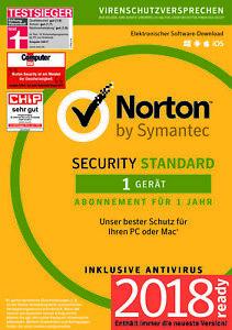 NORTON (Internet) SECURITY Standard (2018/2019) 1-Gerät / 1-Jahr PC/Mac/ KEY