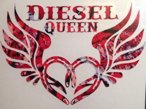 "Diesel Queen Horseshoe Wing Vinyl 5/"" Decal Camo Girl Outdoor Country Muddy Rodeo"