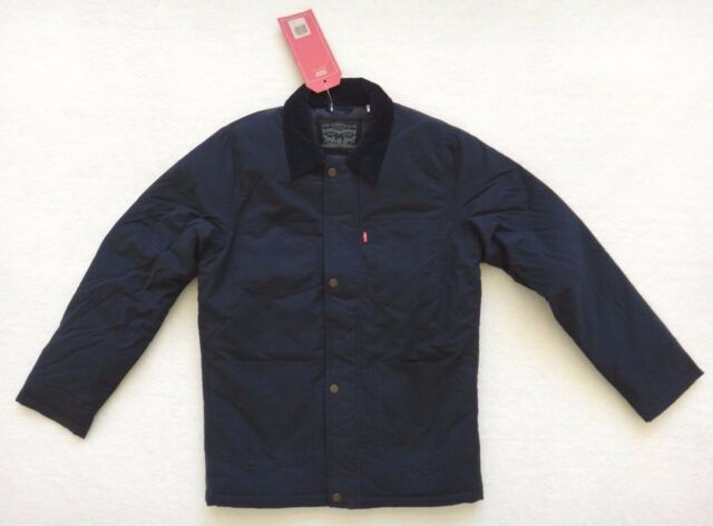 Levis Padded Utility Jacket Coat Mens Navy Blue Insulated Size S