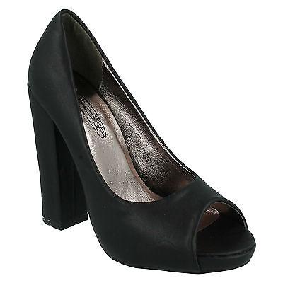 £ 2.99 señoras f1916 Bloque De Tacón Alto Peep Toe Slip On Court Shoes Spot On