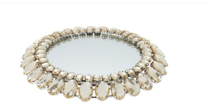 "Round Mirror With Faceted Glass Accents 7 3//4/"" By Valerie QVC H212747"