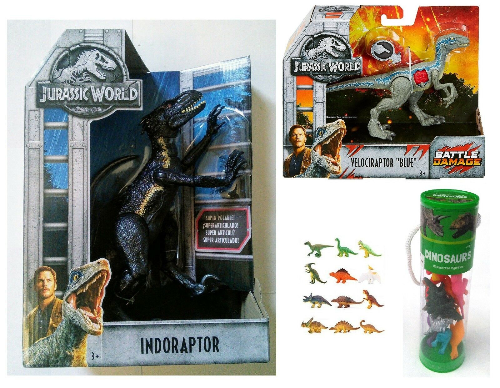 Jurassic World Indoraptor vs Velociraptor Blau with Bonus Mini Dino Figures