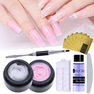 7 Pcsset Clear Pink Poly Builder Nail Gel Quick Extension Kit Brush